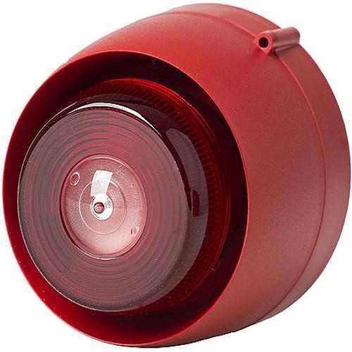 Blixt/siren EN54 röd/röd Tak