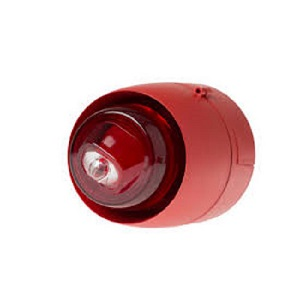 Blixt/siren EN54-23 röd/röd Vä