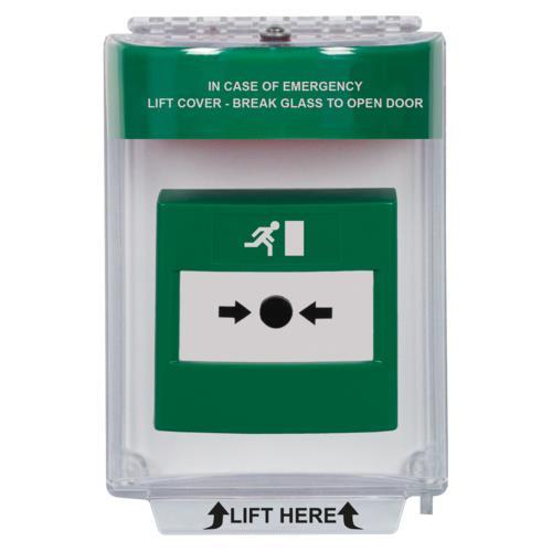 Univ Stop-green sound-Emerg label-flush
