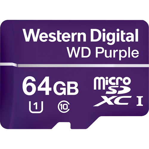 WD Purple WDD064G1P0A 64 GB microSDXC - 100 MB/s Läs - 60 MB/s Skriv