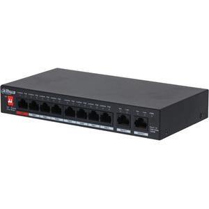 Dahua 10 Ports Ethernet-switch - 2 Lager som stöds - 96 W PoE-budget - TP / tvinnat par - PoE Ports - Desktop, Monterbar på vägg